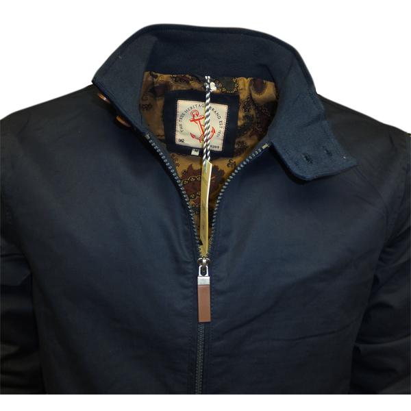 Mens Harrington Brave Soul Lightweight Jacket Full Zip Coat Navy
