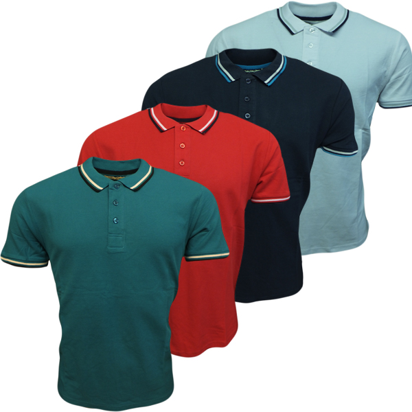 Mens polos brave soul polo shirt plain red aqua or navy s for Plain navy polo shirts