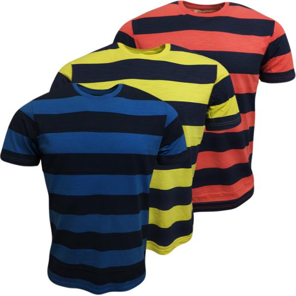 Brave Soul Mens T Shirt Block Stripe Crew Neck Short