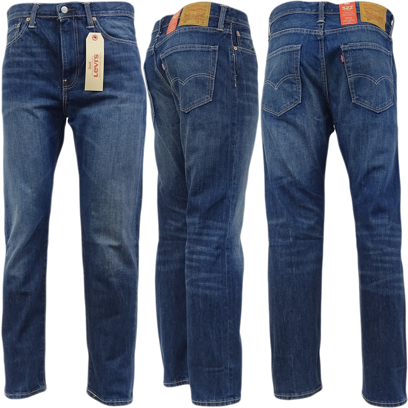 mens levi strauss 522 straight slim leg 39 tapered 39 denim jean trouser pant ebay. Black Bedroom Furniture Sets. Home Design Ideas