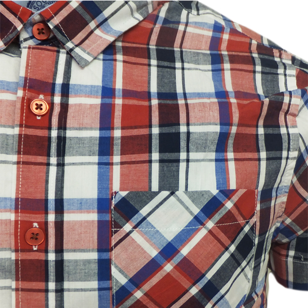Brave soul mens short sleeve checked shirt red green or for Red and green checked shirt