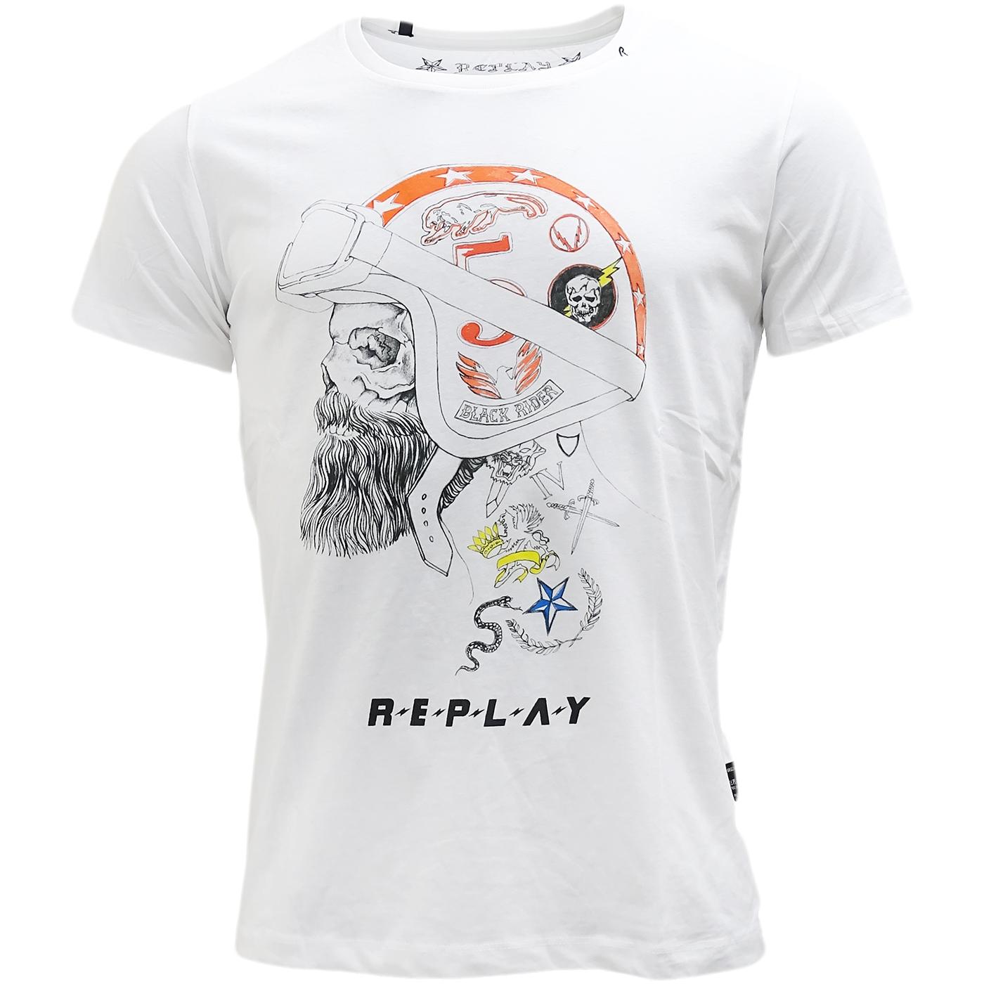Replay t shirt herren replay skull helmet t shirt m3285 for Replay blue jeans t shirt