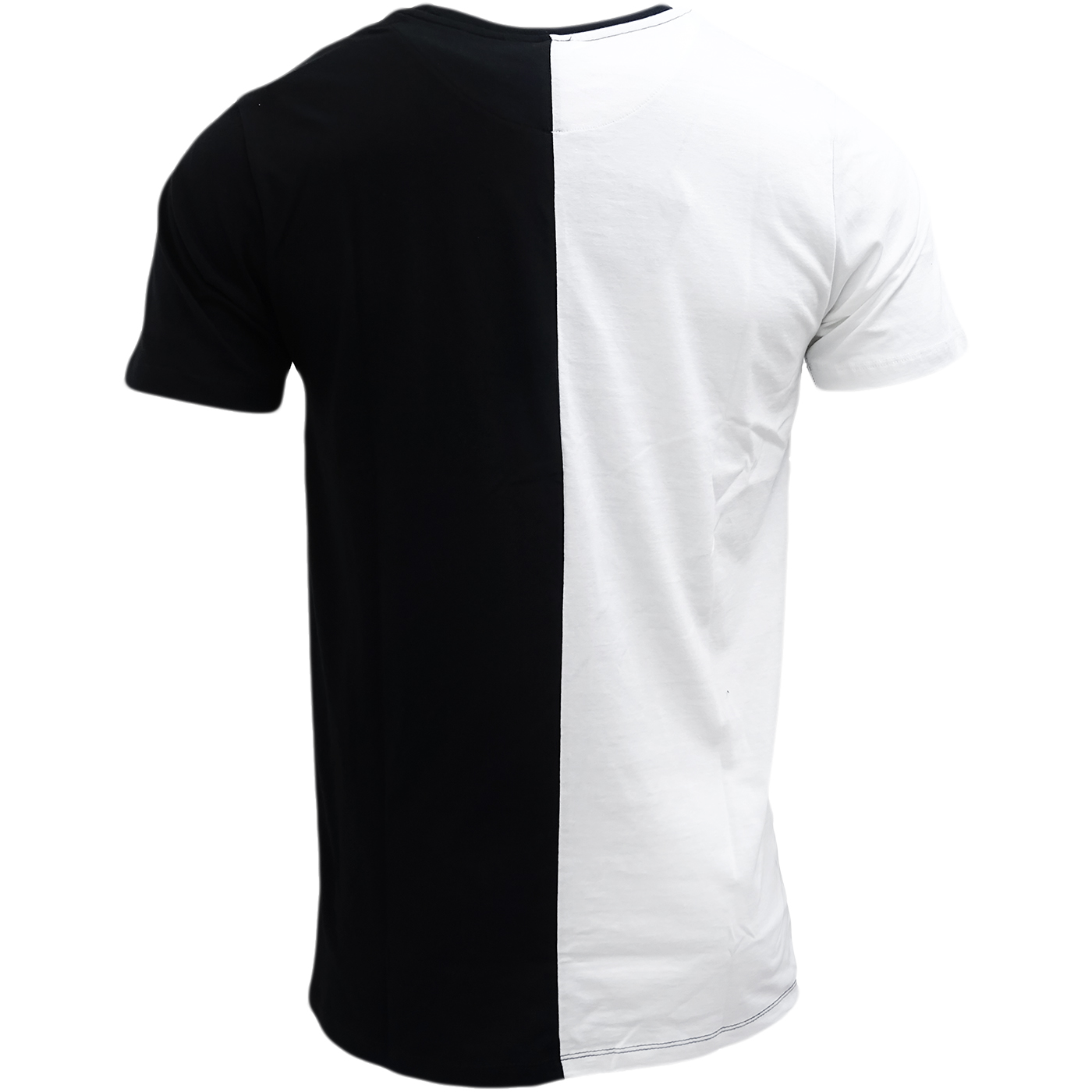 half black split t shirt hype white black half white