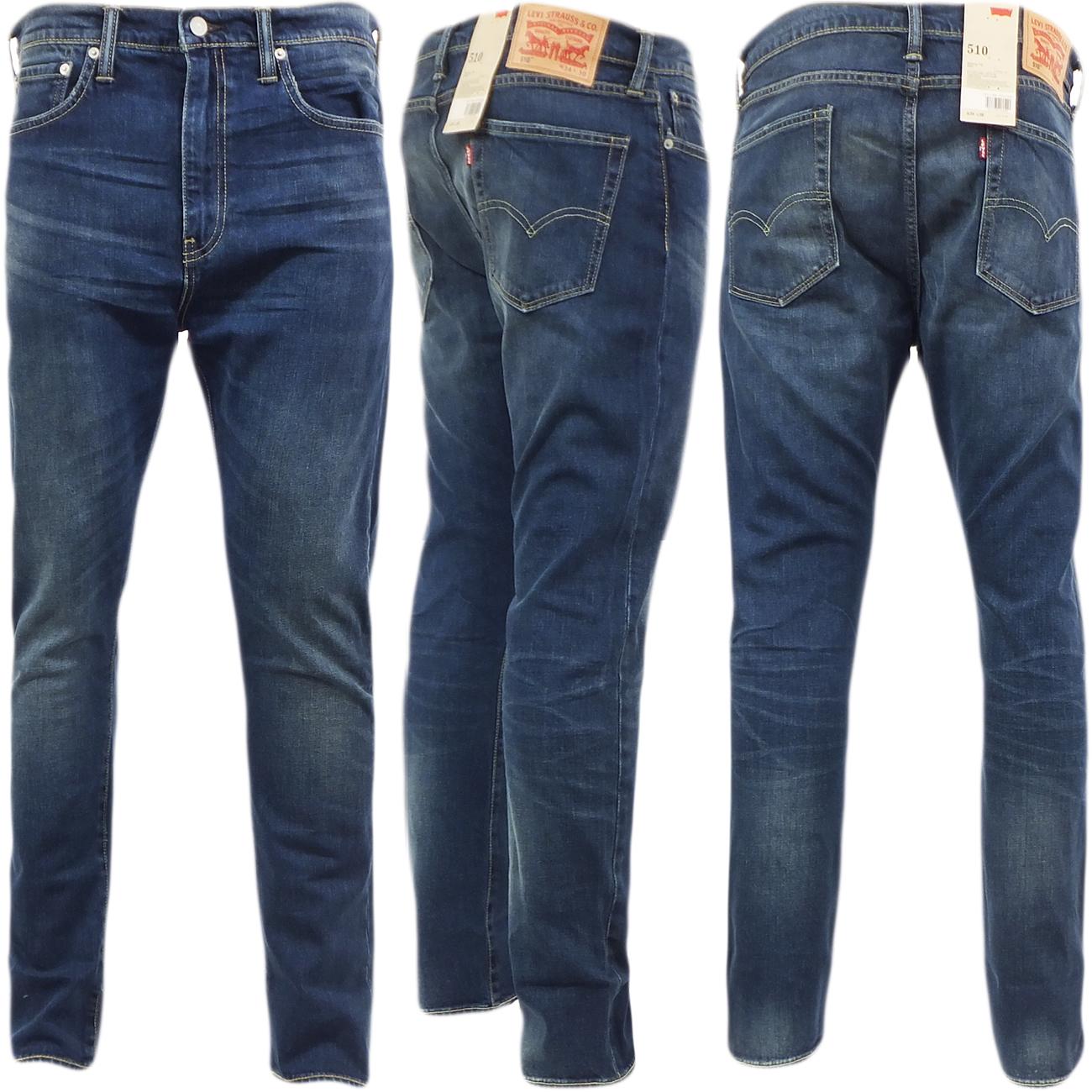 herren levi 510 skinny fit jeans slim anliegendem bein canyon blau 30 32 34 36 ebay. Black Bedroom Furniture Sets. Home Design Ideas