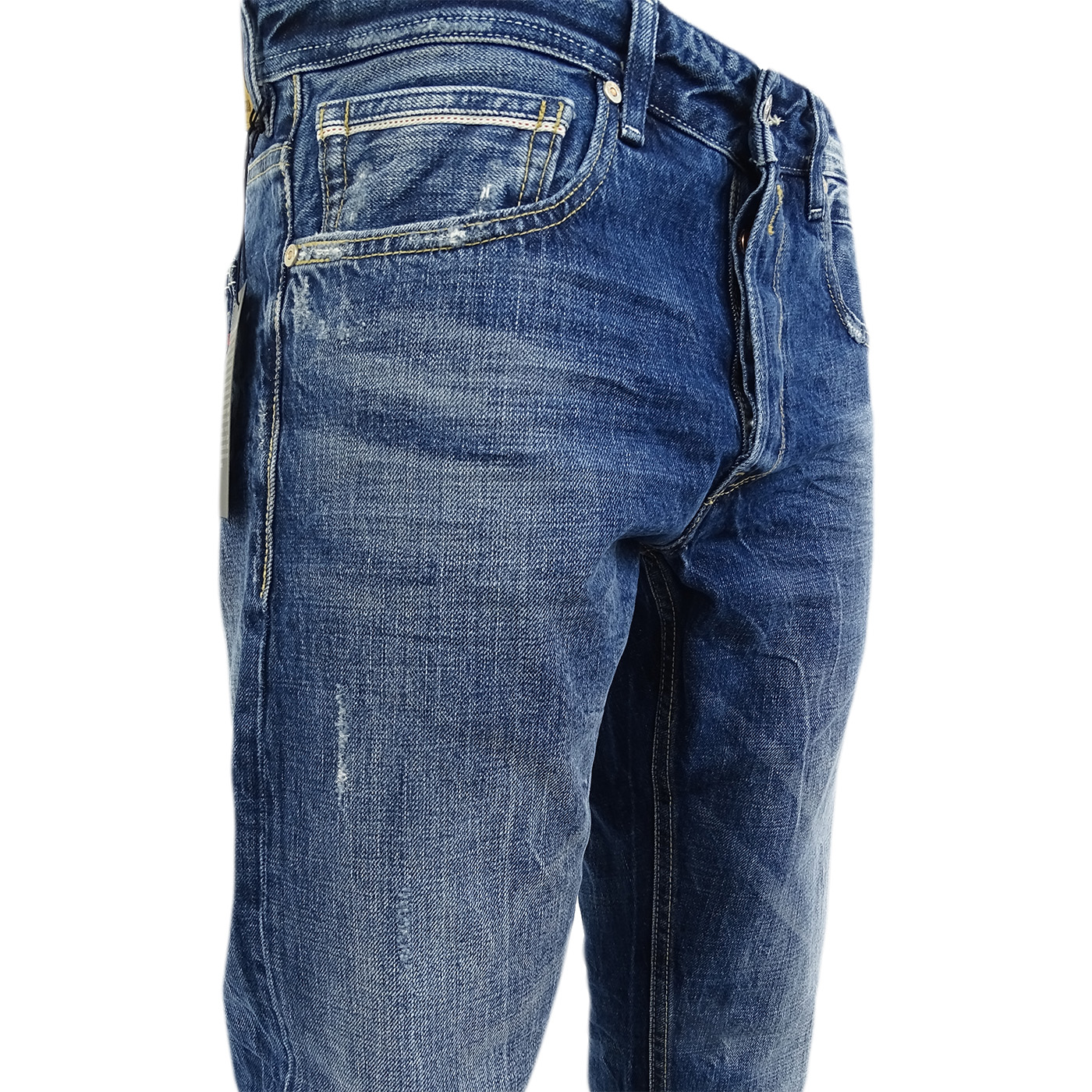 Replay Dark Blue Jean - Grover - Straight Fit With Distressed Finish ... 71fd175dd7