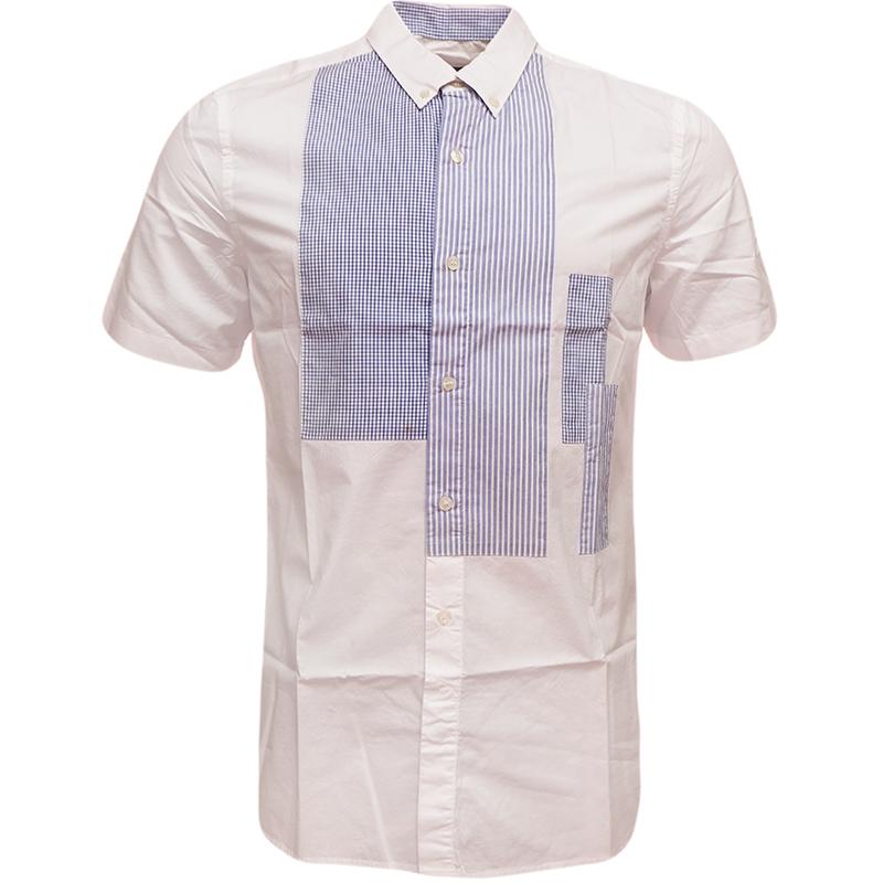 Mens fcuk shirt short sleeve button down collar check for White button down shirt mens