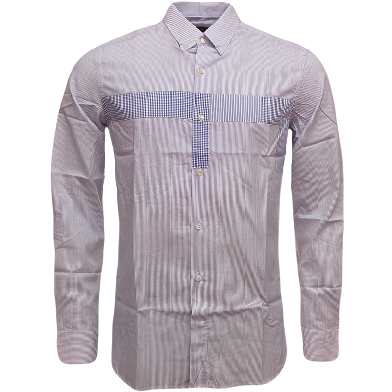 Mens fcuk shirt long sleeve thin stripe button down collar for Thin long sleeve t shirts