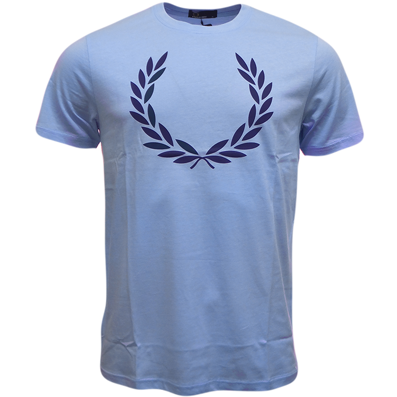 Mens Fred Perry T-Shirt 'Laurel Leaf' Logo Pale Blue S M L XL XXL