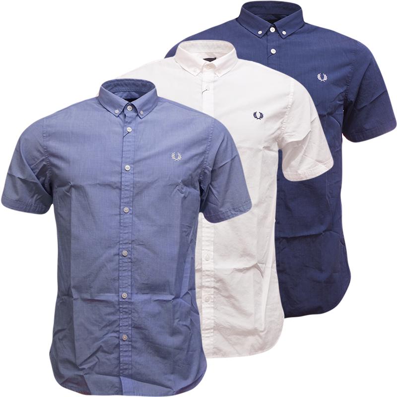 Mens Fred Perry Plain Shirt Slim Fit Blue White Denim Smart Casual Shirts New