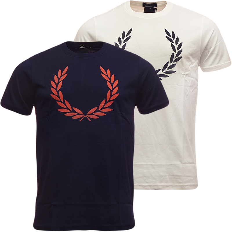 Mens Fred Perry Laurel Leaf T Shirt Off-White or Navy New