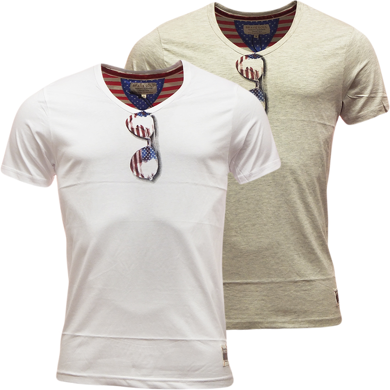 Mens Brave Soul V Neck T Shirt 'Manilla' Sunglass Print Design S M L XL