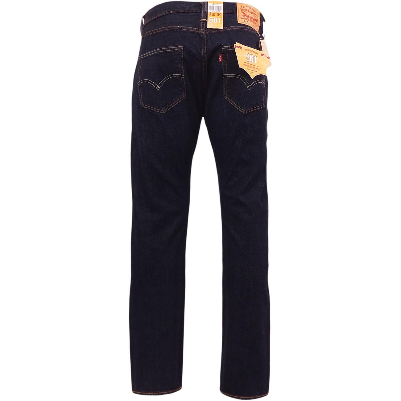 2ea6f2e9db Mens Levi s 501 Denim Jean One Wash Indigo Dark Blue New Original ...