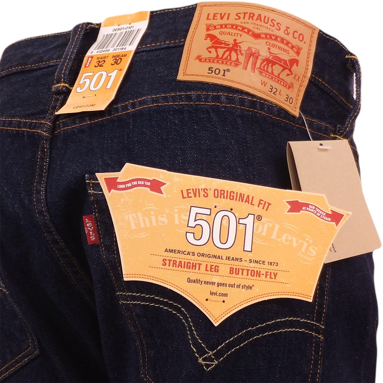98e7548e197 Mens Levi's 501 Denim Jean One Wash Indigo Dark Blue New Original ...
