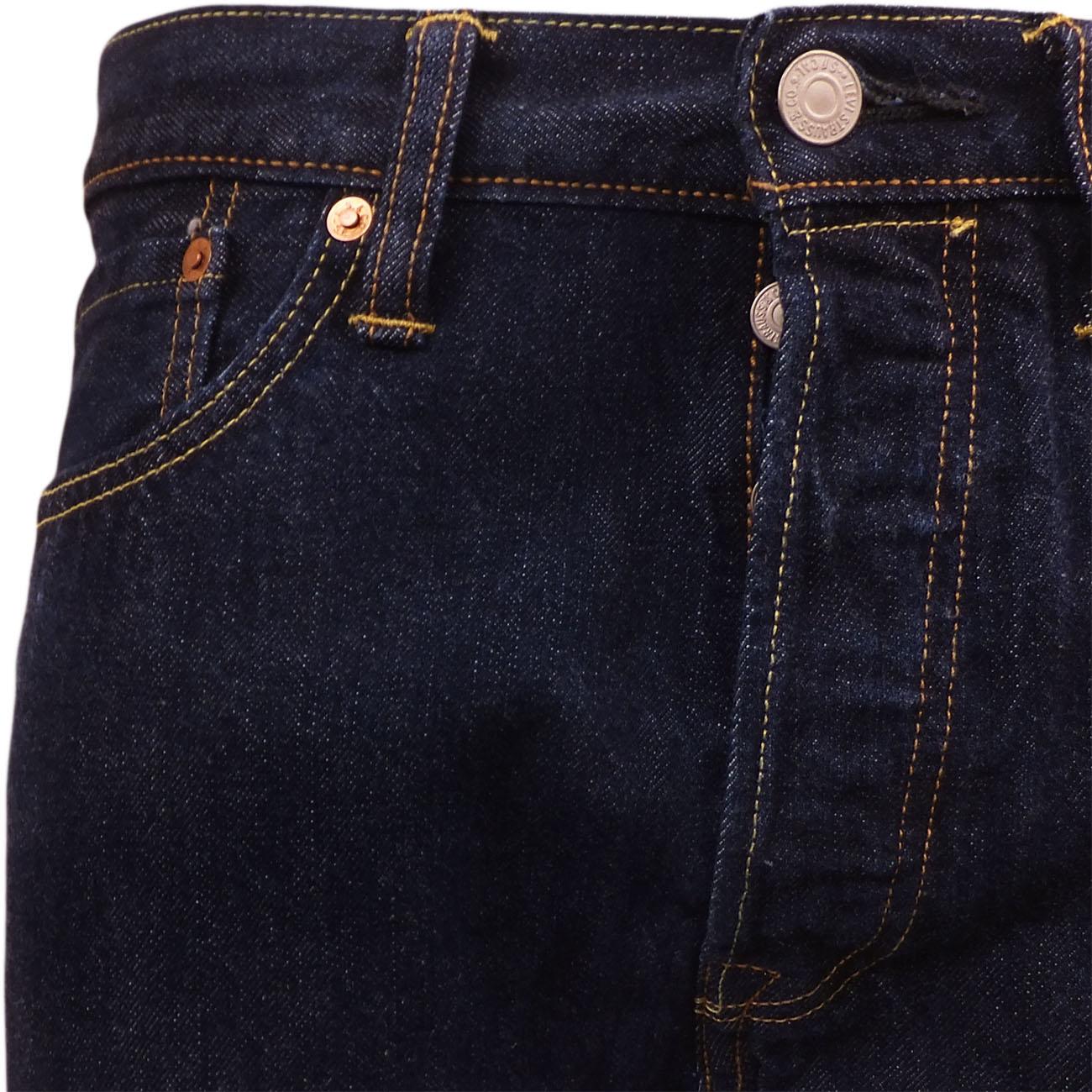 Mens Levi's 501 Denim Jean One Wash Indigo Dark Blue New ...