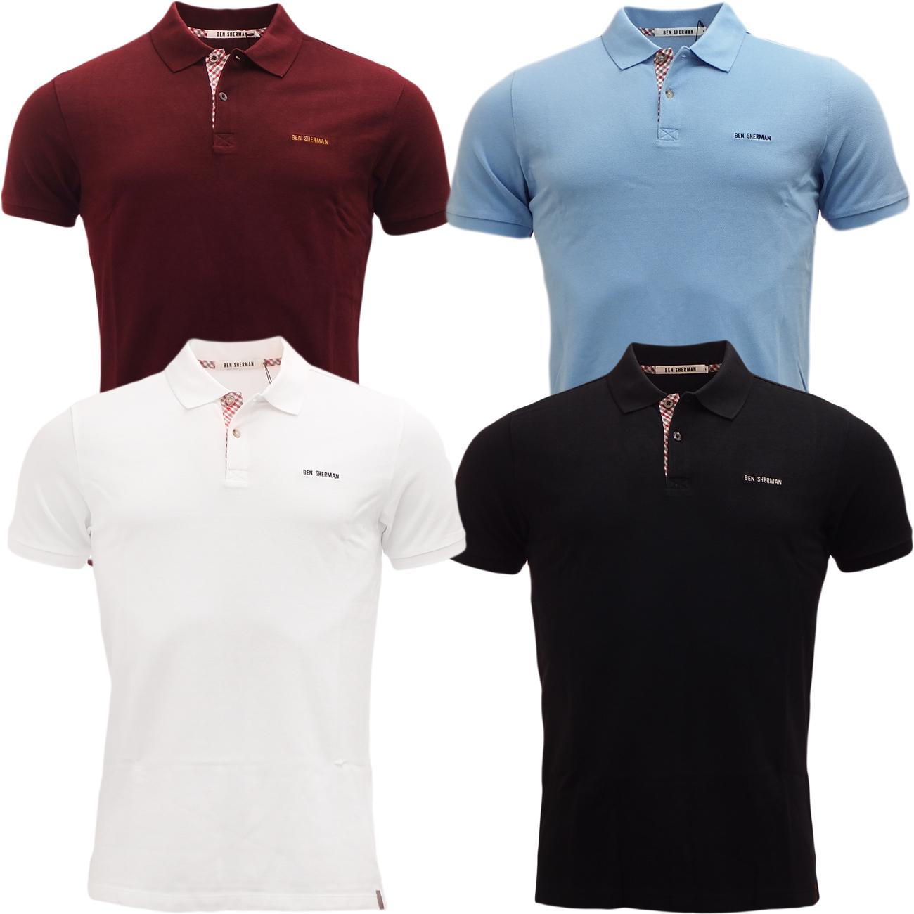 Mens polos ben sherman polo shirt short sleeve plain pique for Xxl mens polo shirts