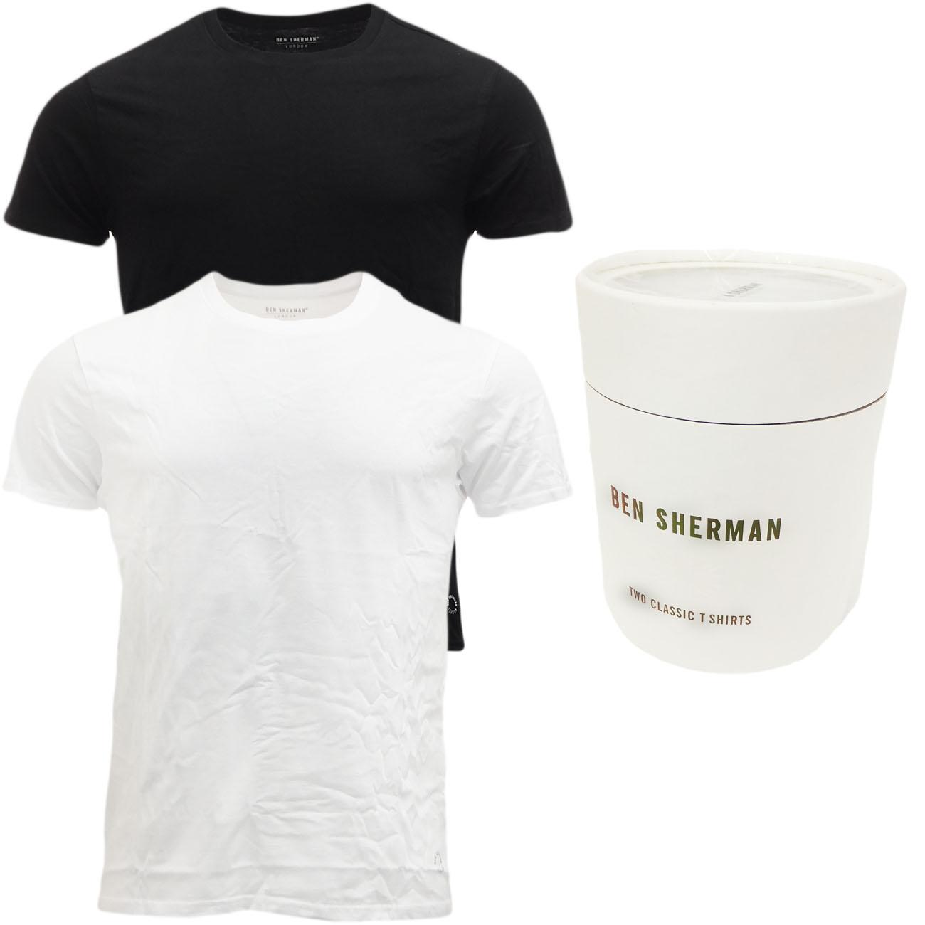 Plain black t shirt xxl - Mens Ben Sherman T Shirt Gift Box Pack Of 2 Plain T Shirts New S M L