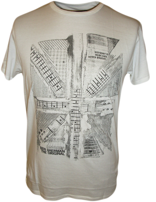 Mens Ben Sherman T-Shirt Union Jack Mod Music Guitar White M L XL XXL
