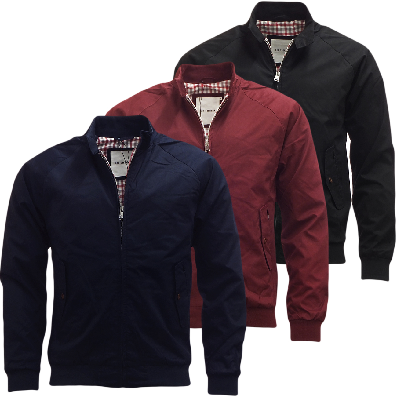 herren ben sherman harrington jacke smart casual jacke s m l xl xxl ebay. Black Bedroom Furniture Sets. Home Design Ideas