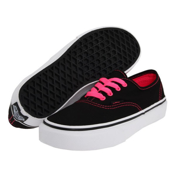 Hot Pink Vans Shoes With Black Laces