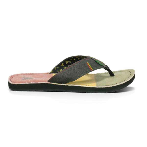 Sanuk Roots Irie Mens Sandals Sandal Flip Flop Rasta Ebay