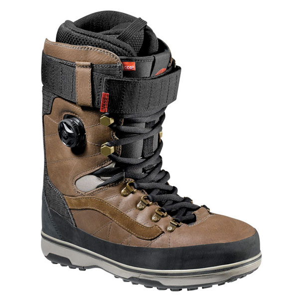 vans mens infuse boa snowboard boots new 2013 leather boa boot brown black ebay. Black Bedroom Furniture Sets. Home Design Ideas