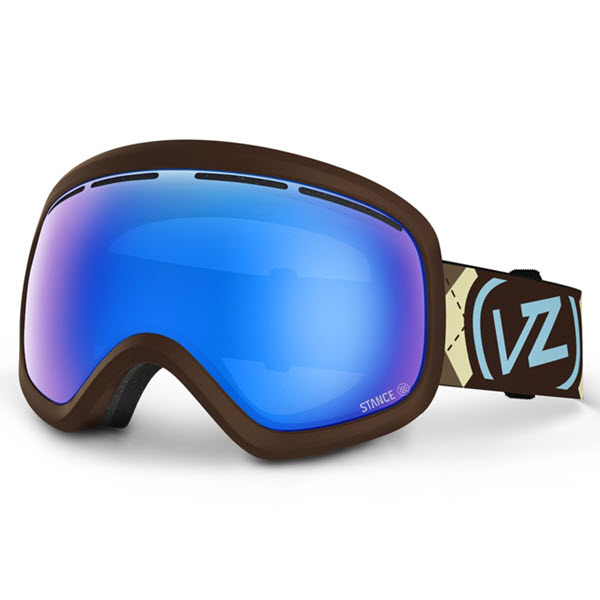 Von Zipper Skylab Goggles Gnarr-gyle Brown Satin Stance Socks Sky Chrome 2014