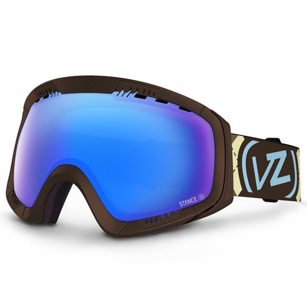 Von Zipper Feenom Snowboard Goggles 2014 Gnarr-Gyle Brown with Sky Chrome Lens