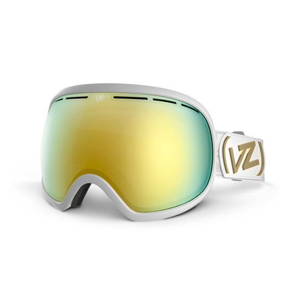 Von Zipper Fishbowl Goggles White Gloss Gold Chrome Lens New 2014