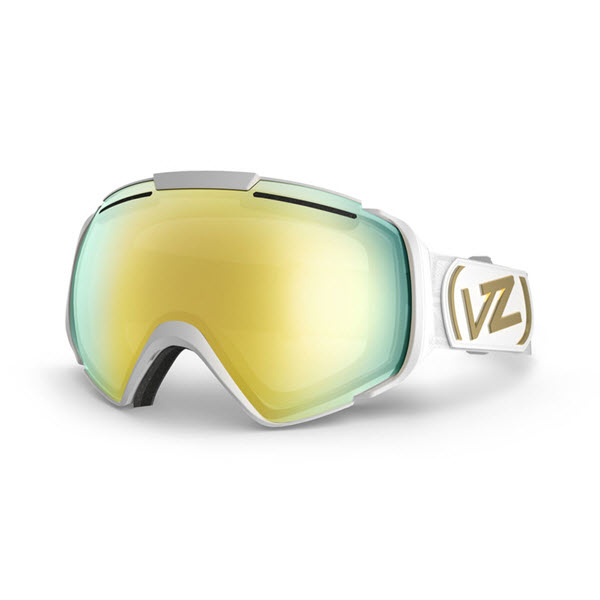 Von Zipper El kabong Goggles White Gloss Gold Chrome 2014 Free Bonus Lens