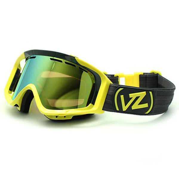 Von Zipper Porkchop Snowboard Ski Goggles Yellow Colorblock Gold Chro