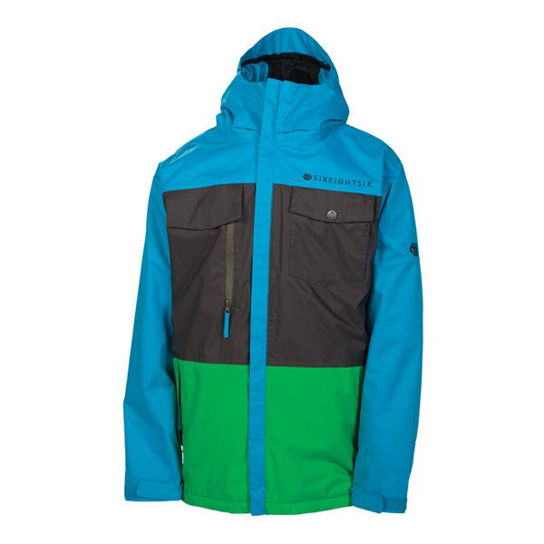 The Board Basement  686 Smarty Command Mens Snowboard Jacket Bluebird Colorblock 2014