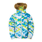686 Authentic Rhythm Girls Snowboard Jacket Blue Ribbons Kids Medium Sample 2015