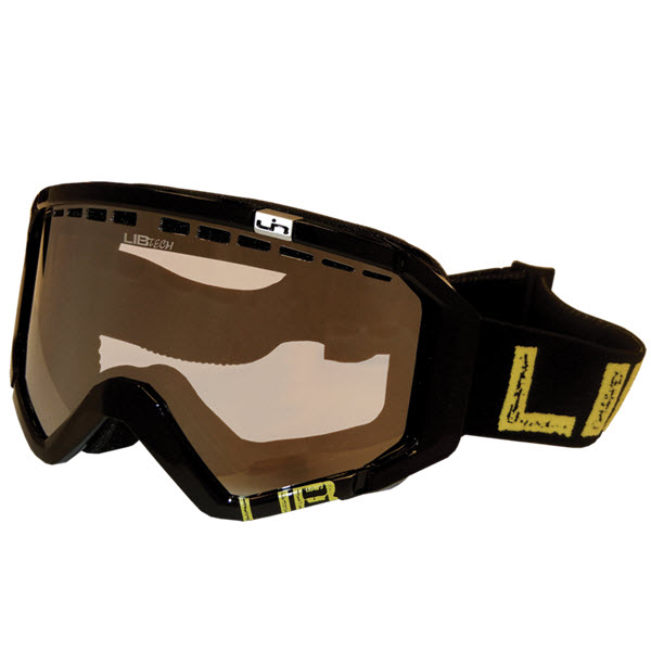 Lib Tech Logo Night Rider Yellow Snowboard Goggles Orange Chrome Lens 2014