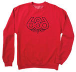 686 Outline Crew in Red Large