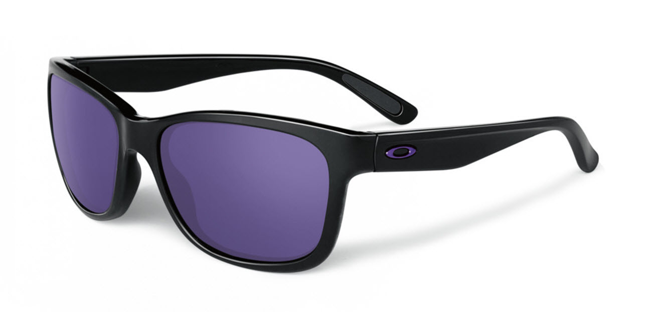 Product image of Oakley Womens Forehand Sunglasses in Polished Black with Violet Iridium Lens