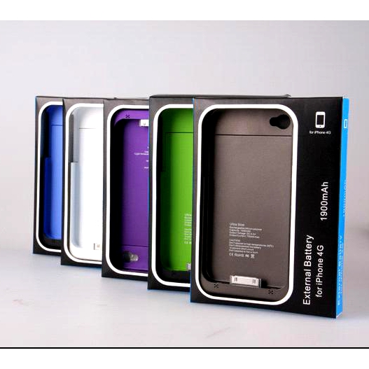 1900mAh Tasche Case Extern Akku Zusatzakku Apple iPhone 4S 4 S Hülle Power Bank