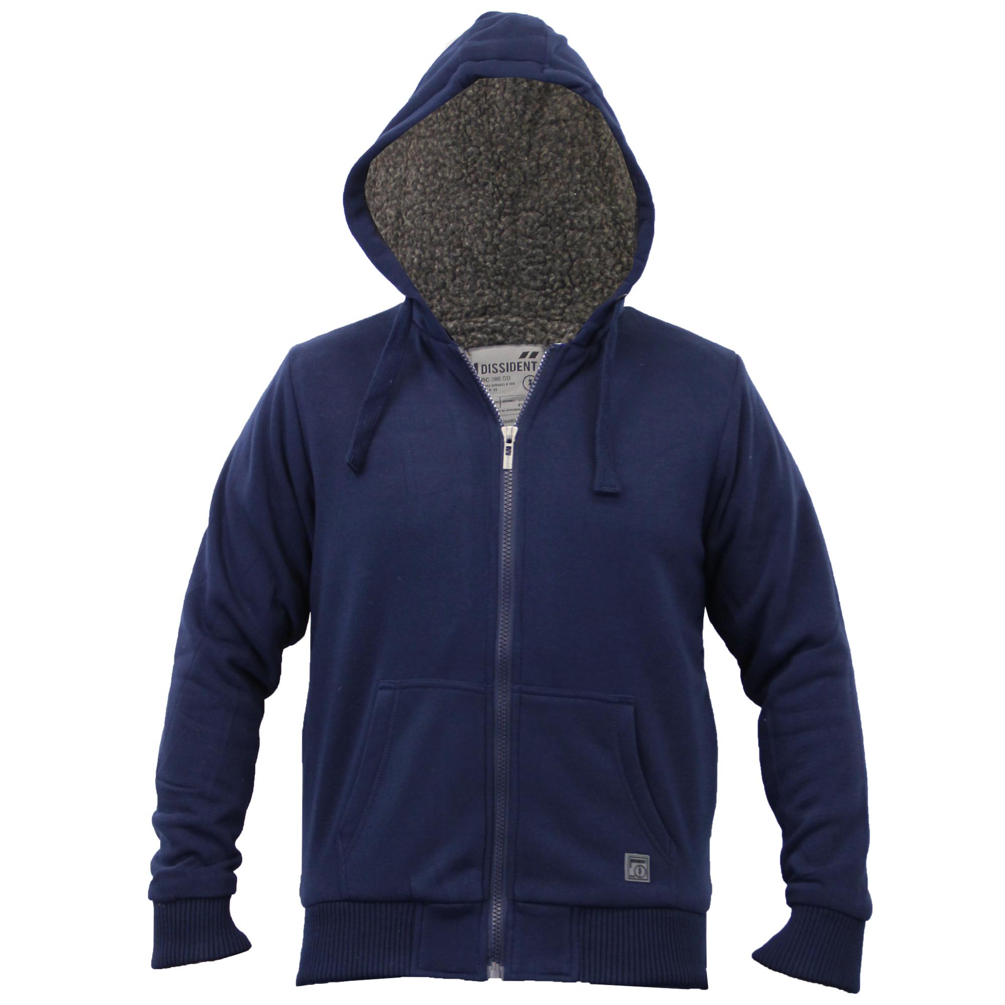 Mens Jacket Dissident Sweat Hooded Top Sherpa Fleece Lined Heavy Casual Winter