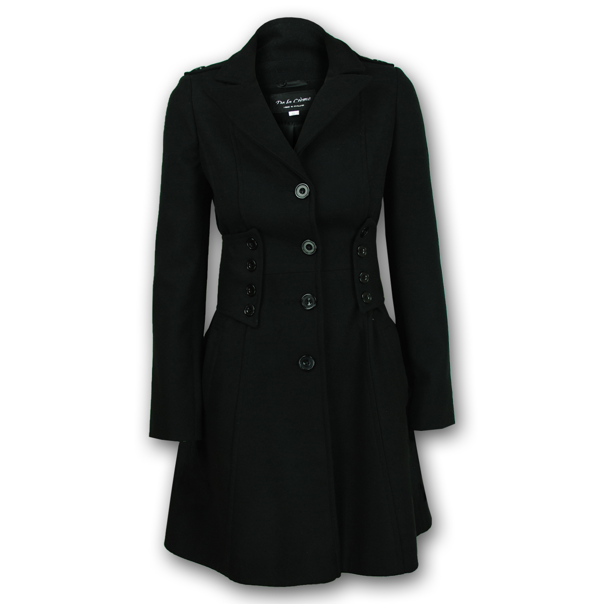 Ladies Coat Womens Jacket Wool Look Military Long Button Warm Winter Lined New