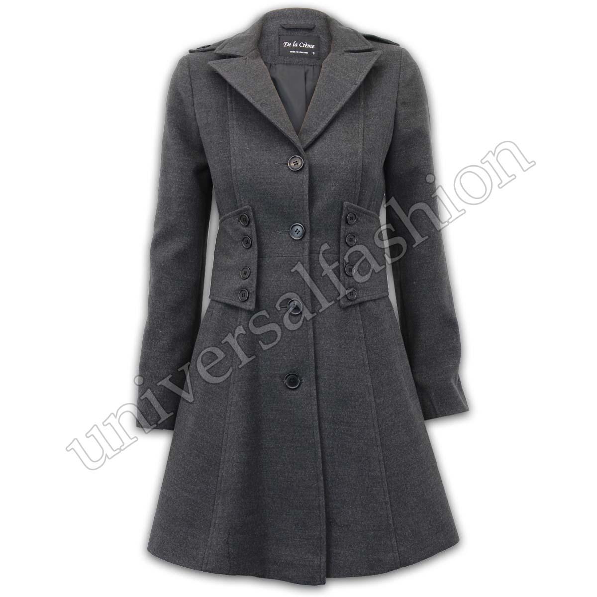 Ladies Coat Womens Jacket Wool Look Military Long Button Warm ...