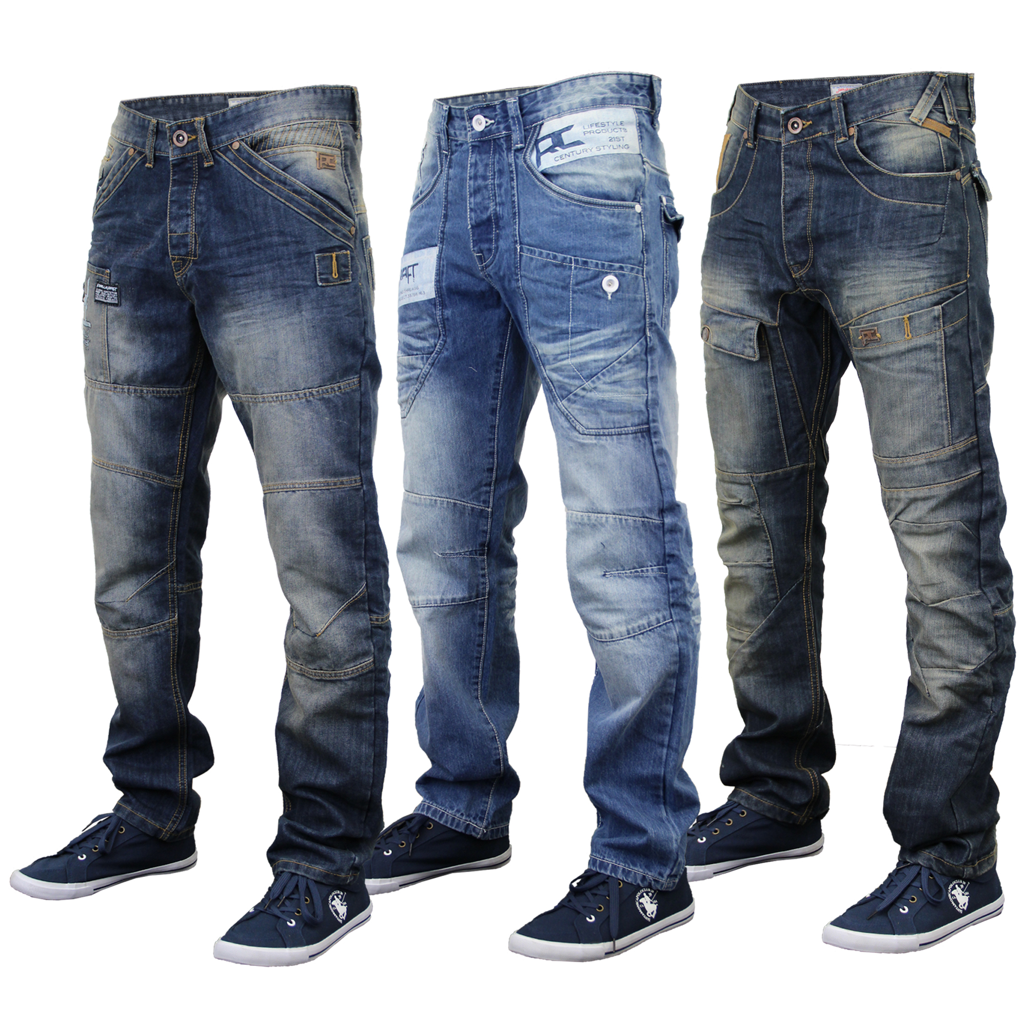 Mens Jeans Rawcraft Denim Tapered Straight Leg Bottom Button Zip ...