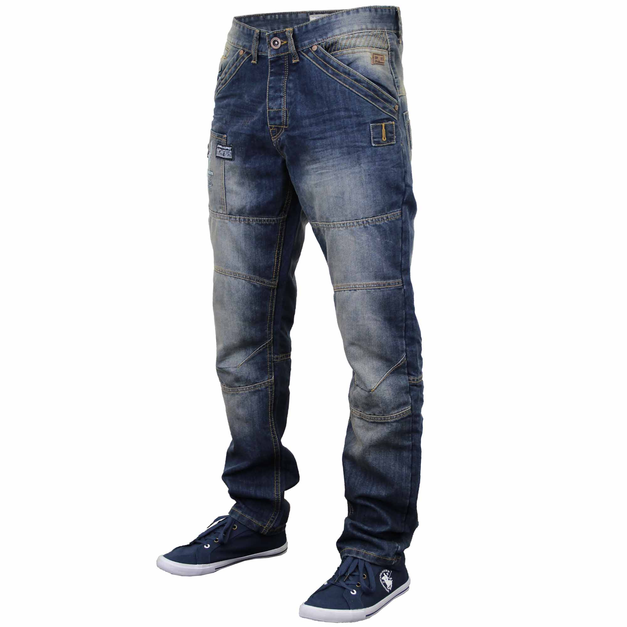 mens jeans rawcraft denim tapered straight leg bottom button zip fashion casual. Black Bedroom Furniture Sets. Home Design Ideas