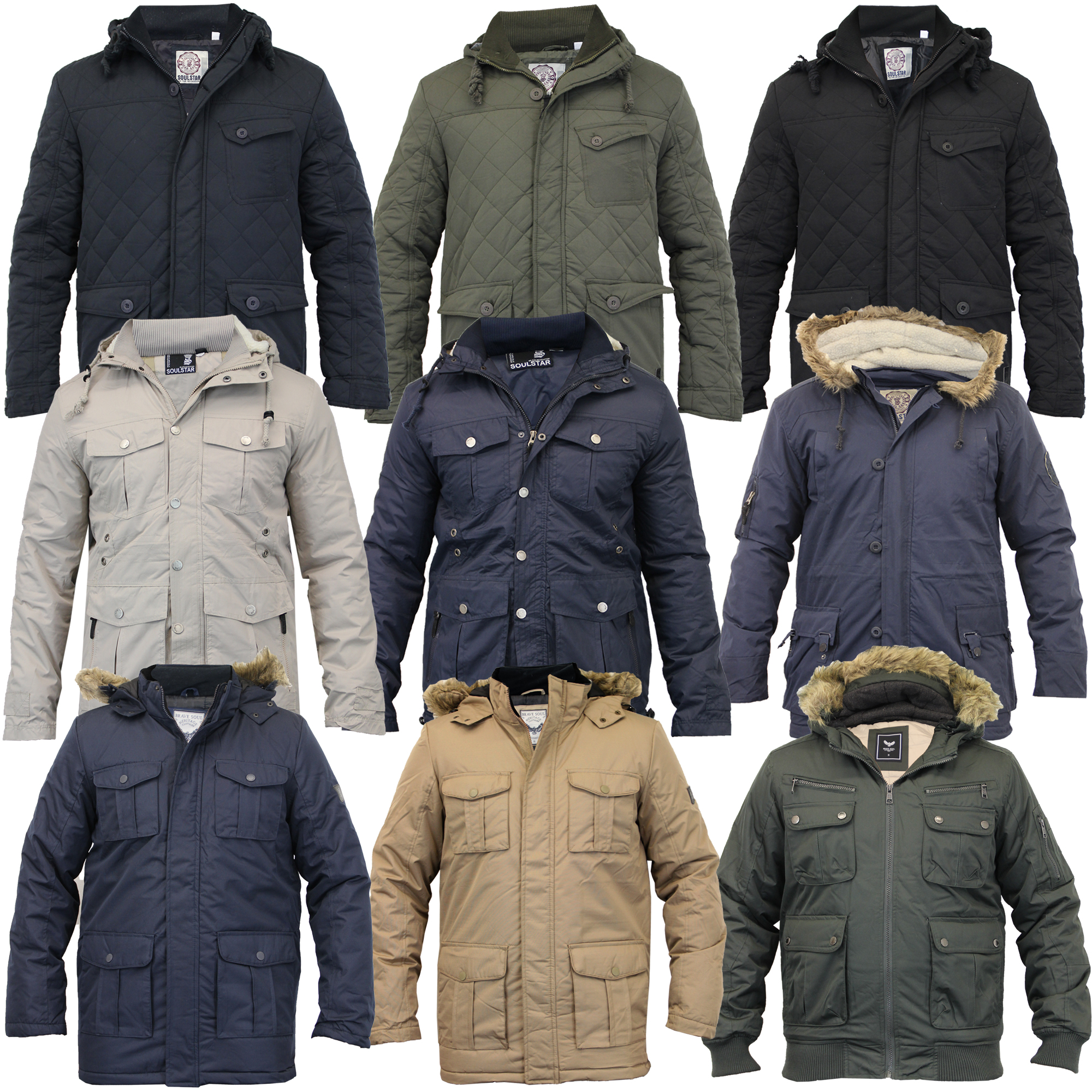 Mens Parka Style Jacket Soul Star Coat Padded Quilted Hooded Faux ...