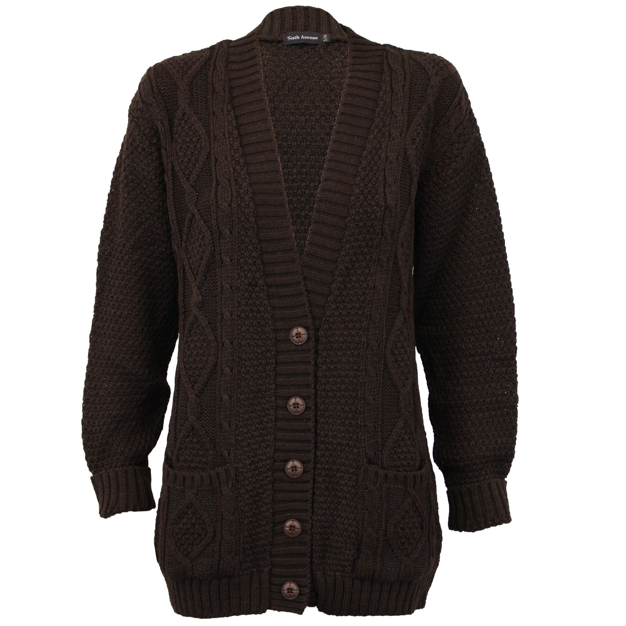 Ladies Cardigans Womens Knitted Jumper Cable Jacquard Boyfriend ...