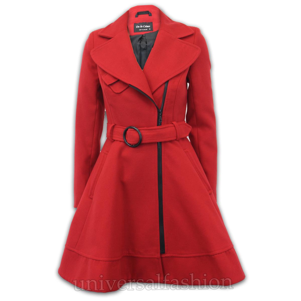 Ladies Coat Womens Jacket Wool Look Belt Long Trench Warm Winter ...