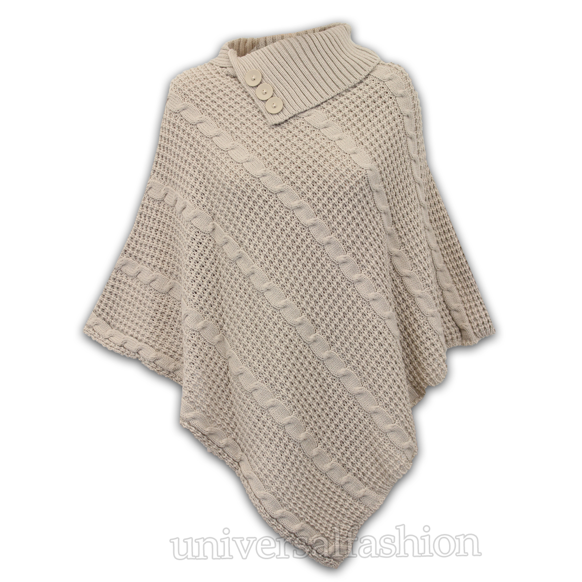 Ladies Poncho Jumper Womens Knitted Cape Sweater Top Check Pullover Shawl Win...