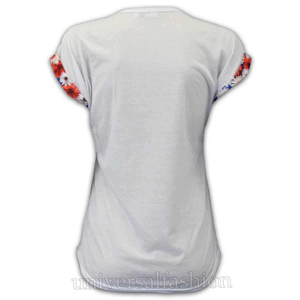 Girls Top Kids T Shirt Glitter New York Floral Print Cap Sleeve High Low Hem New
