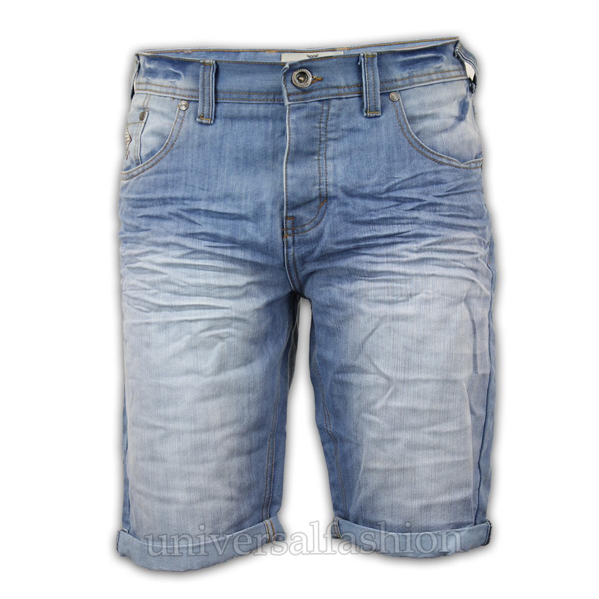 Mens Denim Shorts Threadbare Knee Length Jeans Bottoms Ripped ...