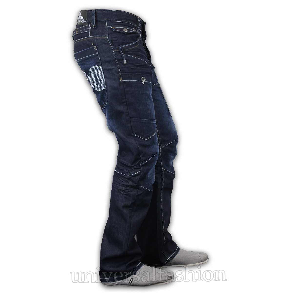Mens-Denim-Jeans-Crosshatch-Cargo-Combat-Pants-Bottoms-Straight-Leg-Designer-New