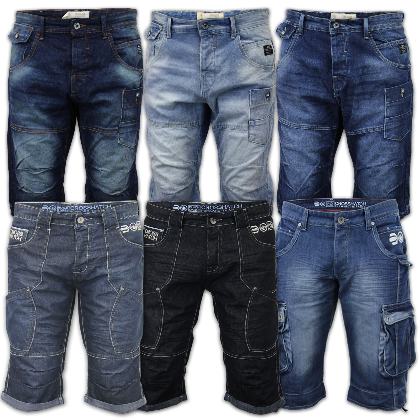 Mens Denim Crosshatch Shorts Cargo Combat Jeans 3 4 Roll Up Summer ...