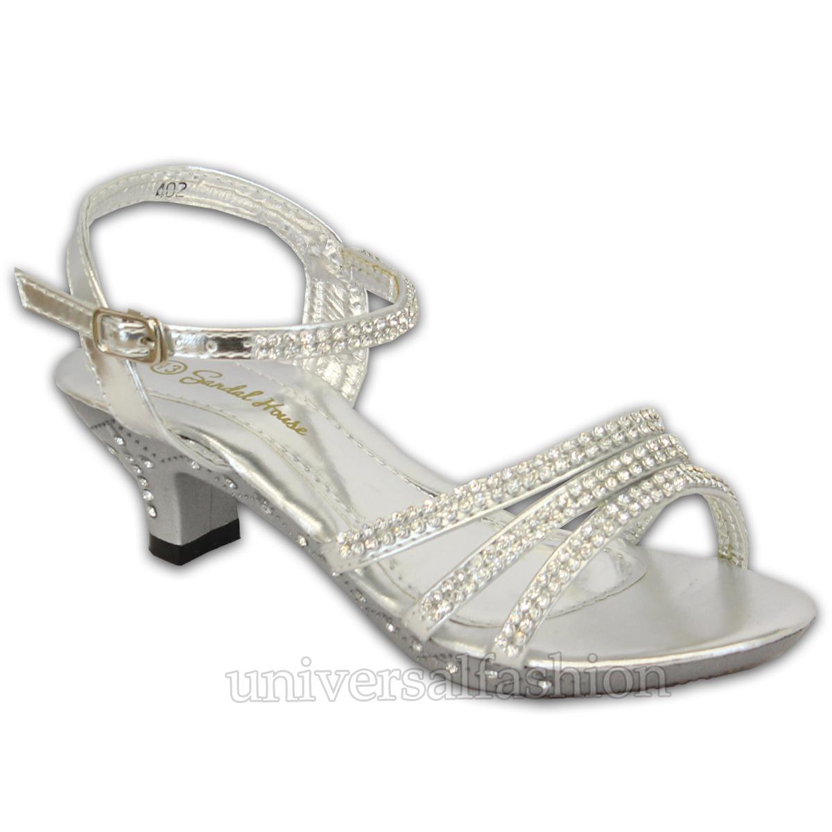 Girls Sandals Kids Bridesmaids Shoes Diamante Open Toe Strap ...